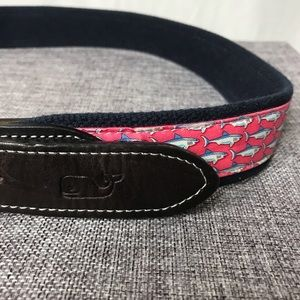 Vineyard Vines Shark Leather Canvas Belt